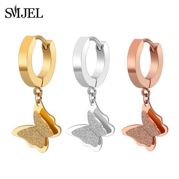 SMJEL Designer Schmetterling Ohrringe Schmuck Ohrringe Bts Korean Edelstahl Tier Frauen pendientes mujer