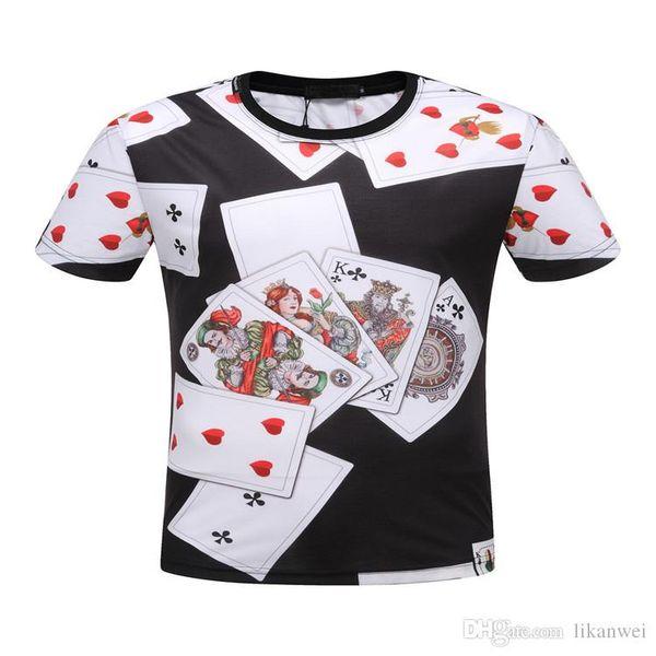 2019 The New Summer Designer design Men T Shirts For Tops Playing card pattern Mens Short Sleeve T Shirt Leisure Short Sleeve Tshirt