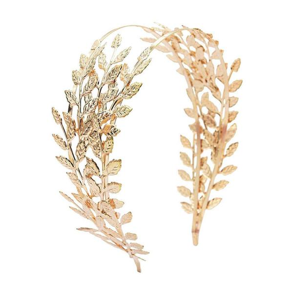 gelin Forehead Saç Takı Düğün Aksesuar 2019 Lady Altın Yaprak Ağacı Şubesi Taç düğün saç bantlarında