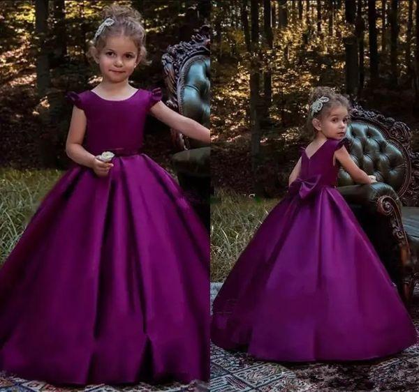 Elegant Purple A Line Simple Satin Girls Pageant Dresses Back Big Bow Zipper Floor Length Flower Girl Dresses for Party Gowns