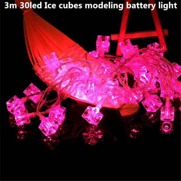 3 m 30led cubos de gelo 3AA bateria led corda luz operado feriado decoração da lâmpada festival de natal ao ar livre iluminação à prova d 'água
