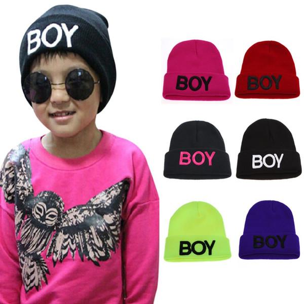 6 Colors Baby Knitted Hats Toddler Ski Hats Children Cotton Letter BOY Beanie Caps for Kids Woolen Skull Hat Baby Crochet