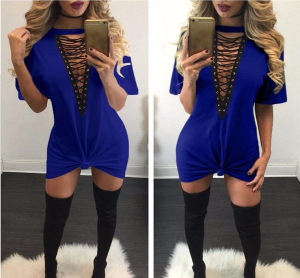 2019 Hollow Out Split Hot for girl Selling Dresses kids Women Clothes Fashion Long Sleeve Autumn Casual Loose V Neck T-Shirt Plus Size Dress