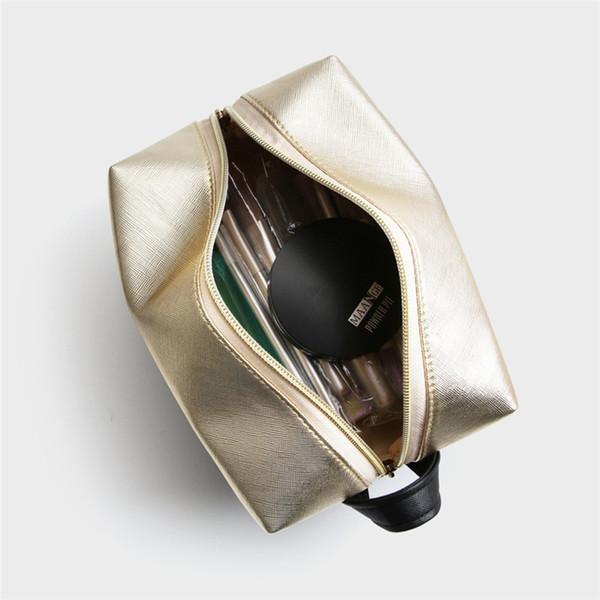 MAANGE Litchi Stria Padrão Ouro Preto Saco de Escova Cosmética Mulheres Zipper Portátil Saco Cosmético Sacos De Maquiagem Organizador Acessórios de Viagem
