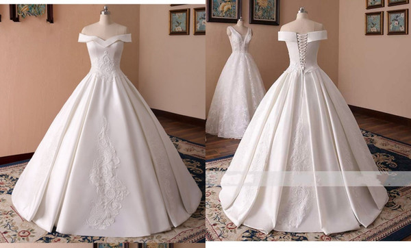 Discount Simple 2019 New Wedding Reception Dresses Cheap Off The Shoulder With Sleeves Satin Corset Back Appliques Wedding Dress Bridal Gowns New Best