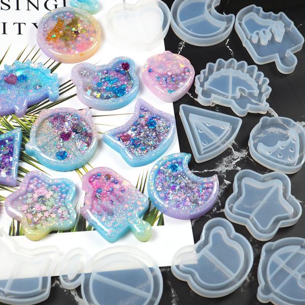top popular DIY Crystal Epoxy Quicksand Keychain Mold silicone Love Star Moon Cat handmade jewelry mold DIY tools YDL007 2021