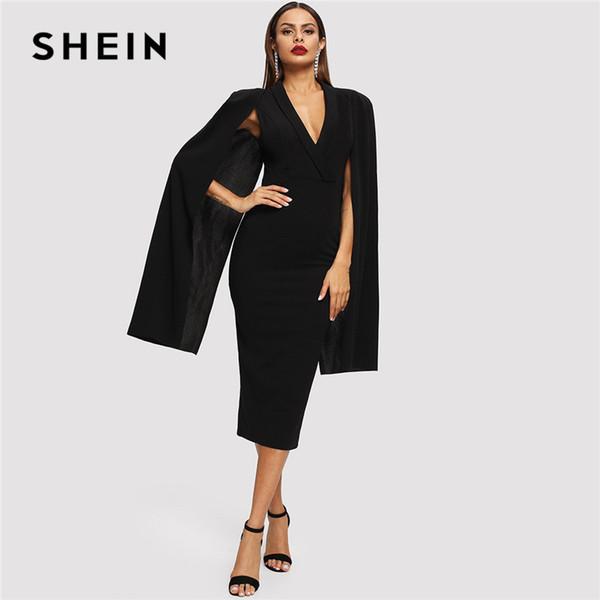 SHEIN Black Cape Sleeve Deep V Neck Shawl Surplice Collar Split Hem Pencil Bodycon Maxi Dress Women Spring Elegant Party Dresses Y19042401