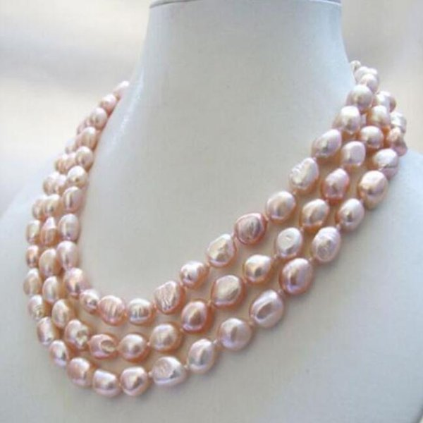 ENVÍO GRATIS + +3 hilos genuino al rosa barroco collar de perlas de agua  dulce 8-9mm 2006726e880