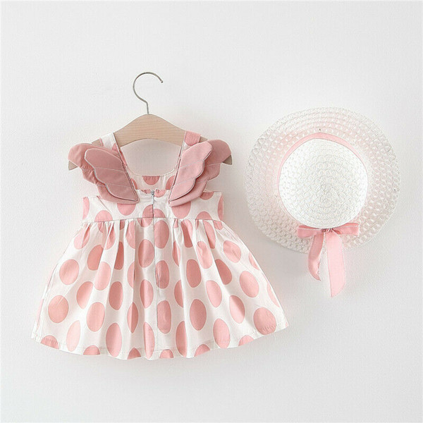 6M-3Y Cute Princess Toddler Kids Baby Girls Dress Vestido de lunares Sunhat Topee 2Pcs Summer Outfits Set Sunsuit