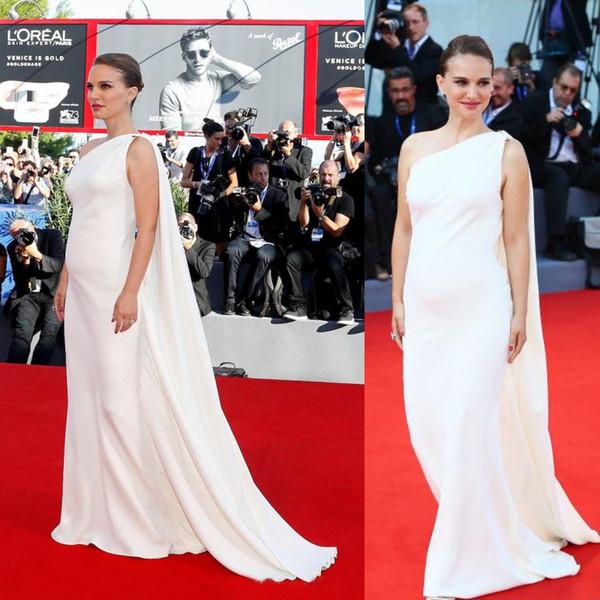 Natalie Portman 2019 Ivory Celebrity Dress Vestidos de noche con Cape 73rd Venice Film Celebrity red carpet Dress Vestidos para embarazadas a medida