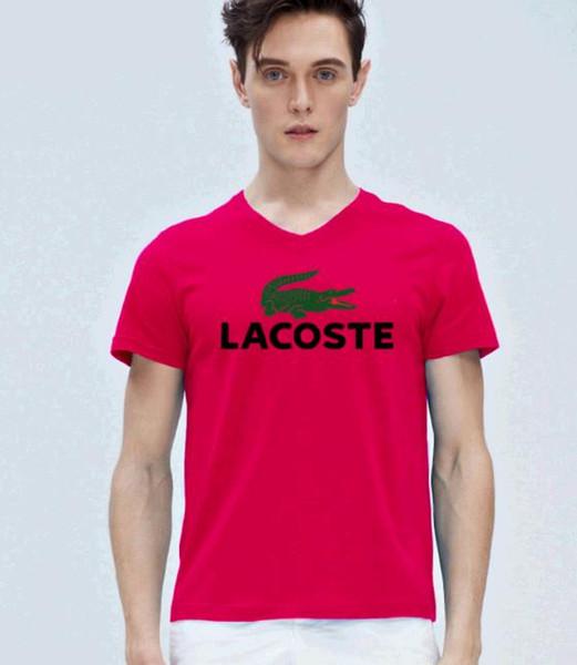 Top Quality 100% Cotton Crocodile Embroidery funny men t shirt casual short sleeve mens women T-shirt Fashion cool T shirt S-5XL