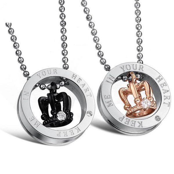 New Mens Hip Hop Jewelry Stainless Steel Fashion Crown Head Pendant Necklaces Classic Women's Luxury Necklace