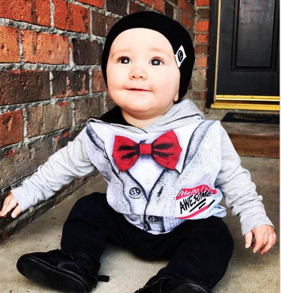 Christmas Baby Outfits Kids Hooded Coats Pants Gentleman Long Sleeve Fake Bow Tie Tops Boys Designer Clothing Fashion Sets LY06
