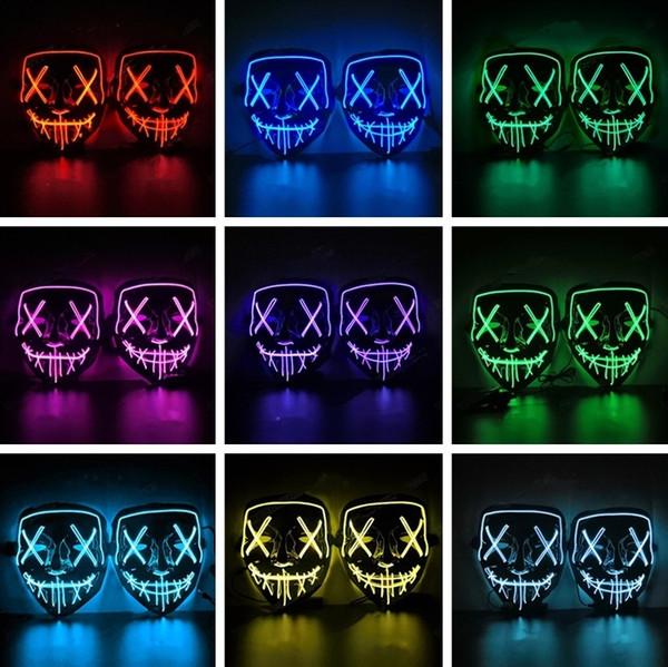 LED Aydınlatma Tam Yüz Maskesi Grimace Cadılar Bayramı maskeleri Noel için Soğuk Işık Maskesi Noel Cosplay Parti Bar Dans Parti maskeleri 5091
