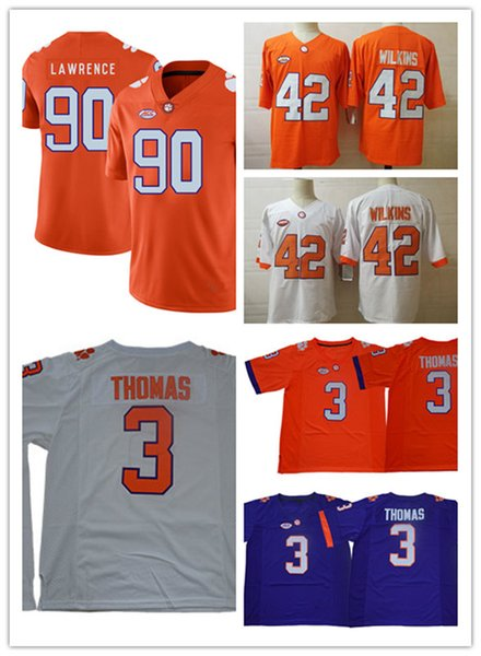 Mens NCAA Clemson Tigers Xavier Thomas Football Jersey Stitched 42 Christian Wilkins 90 Dexter Lawrence Clemson Tigers Jersey S-3XL