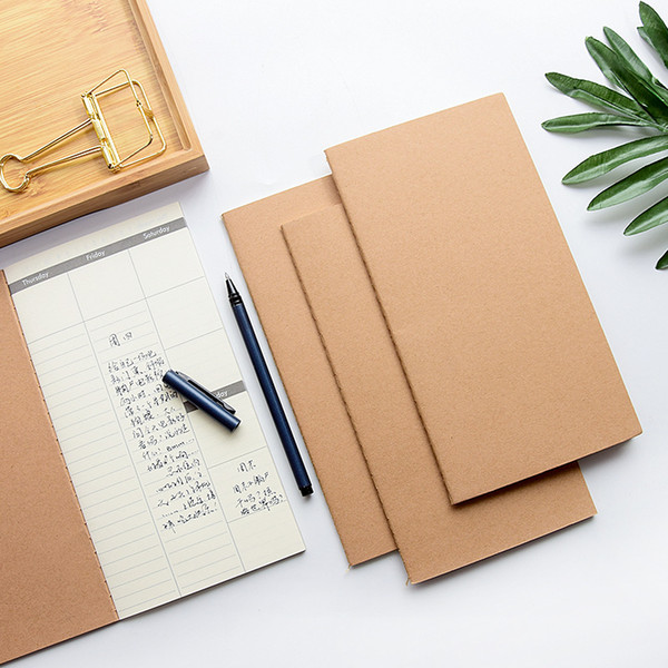 110x210MM Notebooks Cowhide Paper Notebook Blank Notepad Vintage Soft Daily Memos For Sketching Graffiti Hand-drawing 32 Sheets 64 Pages