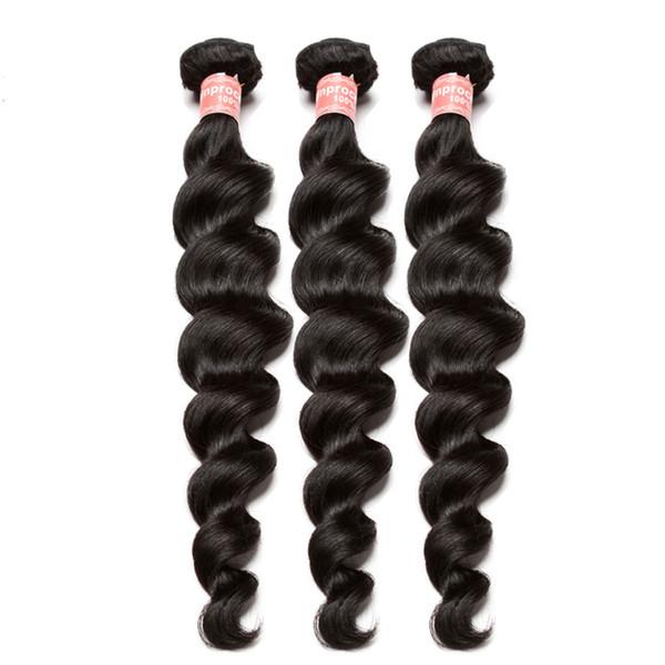 Paquetes de onda suelta Paquetes de tejido de la virgen brasileña Extensión de cabello humano 100% Una pieza Color natural Dolago