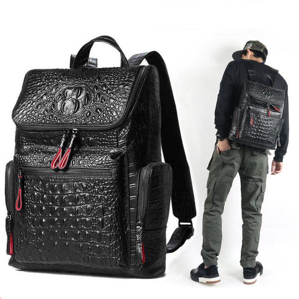 High quality leather Crocodile print backpack men bag Famous designers canvas men's backpack travel bag backpacks Laptop bag