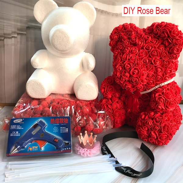 Foam Bear Mold PE Rose Artificial Flower Heads Rose Bear White Mold and Gift Box DIY Accessories Bag