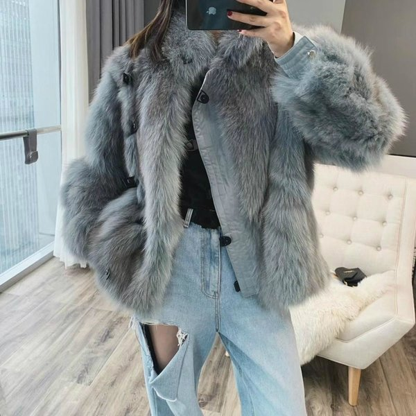 2019 New Fashion Women Winter Real Fur Coat Jacket Natural Fox Fur Real Leather Thick Warm Outerwear Streetwear Luxury SH190928