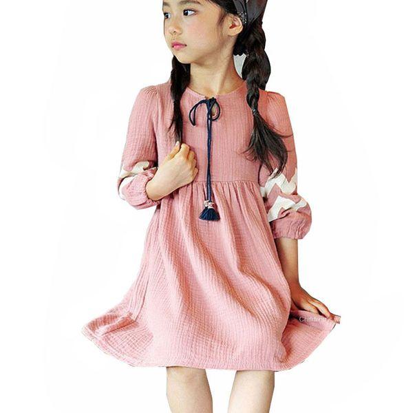 koreanische stil quaste frühling herbst baby teens mädchen baumwolle kleid kinder prinzessin kostüm 3-12 jahre kleinkind mädchen vintage party kleider