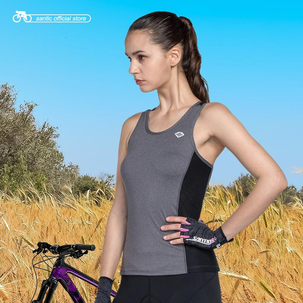 top popular Santic Women Cycling Vest Sleeveless SANTIC N-FEEL High Tech Fabric Reflective Cycling Cool Tops Running Riding Vest KV6403G 2020