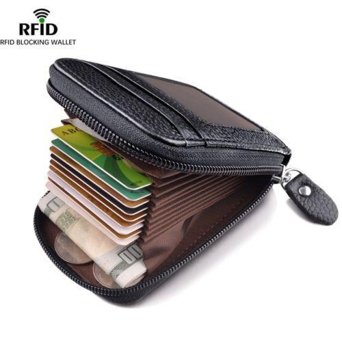 Billetera de los hombres de cuero genuino titular de la tarjeta de crédito Bloqueo de RFID Cremallera Delgada Fahion Nuevo diseño de la tarjeta Bolsas de almacenamiento de cambio
