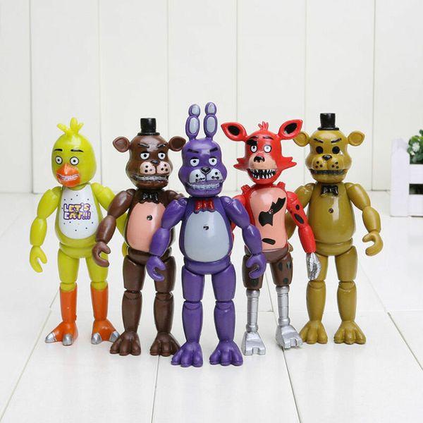 Işık Oyuncak Toplama Çocuklar Noel Hediyesi ile 5 adet A Takımı Çok Renkli Fnaf Beş Nights At Freddy'nin Aksiyon Figürleri
