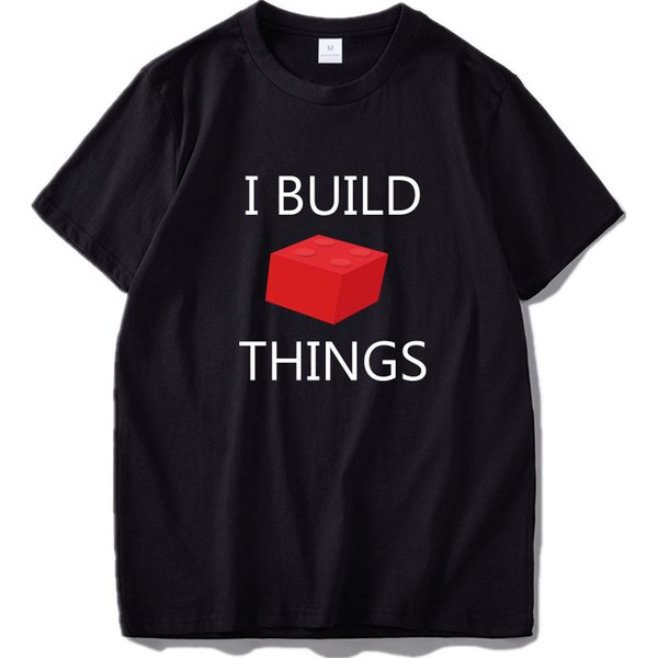 I Build Things Tshirt Brick Blocks Funny Graphic Hipster Streetwear Top Tees Men Short Sleeve Cotton Humor Game T-shirt