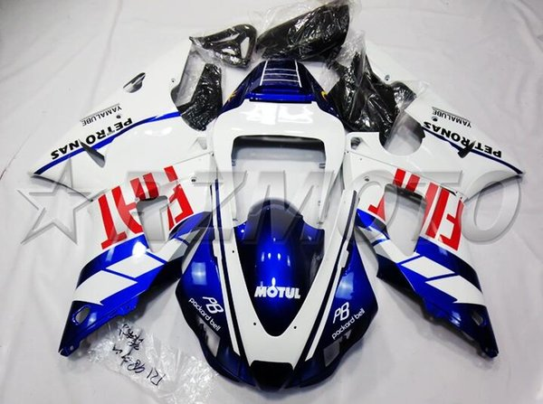 4Gifts New ABS Compression Molding motorcycle plastic Fairings Kits Fit For YAMAHA YZF-R1-1000 1998-1999 98 99 bodywork Custom blue white