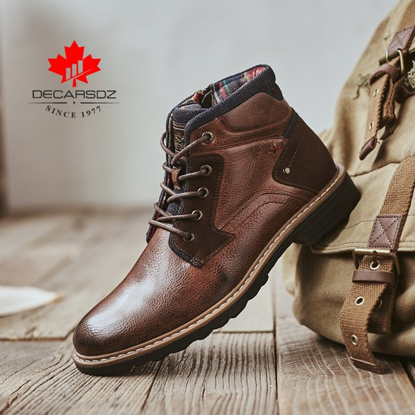 Мужские сапоги для мужчин 2019 новых осенних зимних сапоги Мужской обуви Моды Основных сапоги Western пинетка Lace-Up Прочного голеностопного