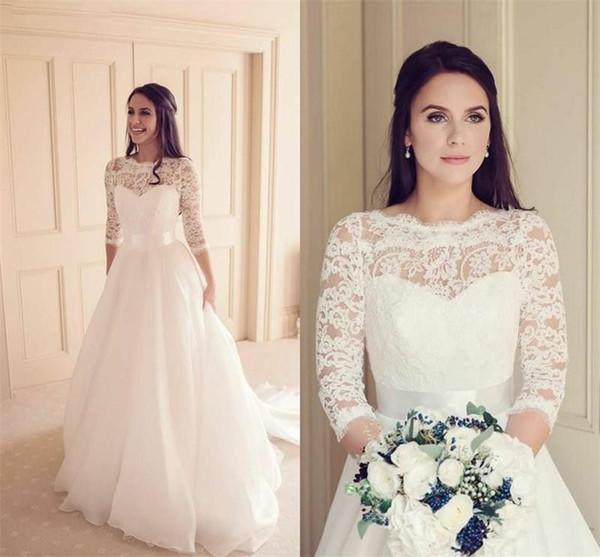 3/4 de manga larga de la tapa del cordón de la boda vestidos de cuello de la joya de lujo Tulle 2020 nuevo diseño simple del tamaño de una línea vestidos de novia elegante de encargo