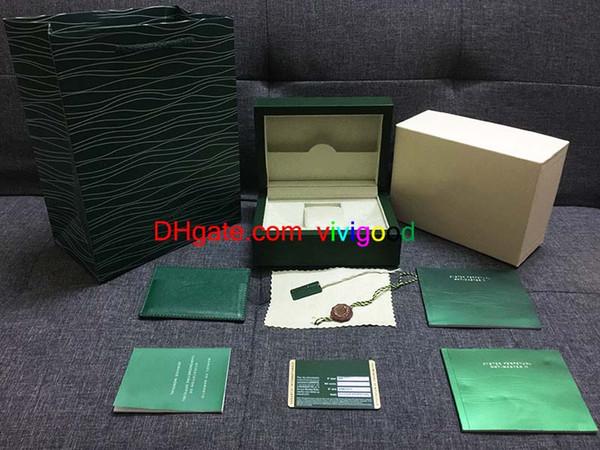 Livraison Gratuite Top Montre De Luxe Marque Vert Boîte D'origine Papier Cadeaux Montres Boîtes Sac en cuir Carte 0.8KG Pour Rolex Watch Box