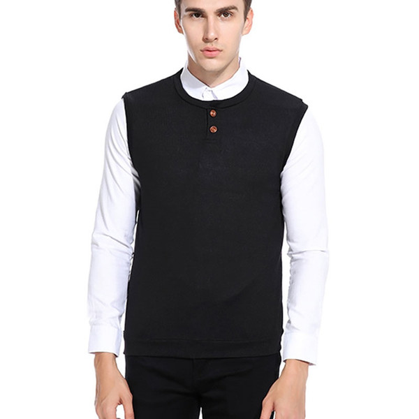 Basic Men's 2 Buttons O-neck Solid Sleeveless Sweaters Slim fit Pullover Mans Clothes 2018 Sweaters for Male #391522