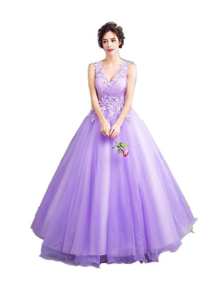 2019 New Dream Fairies Lavendel Lila Abendkleider Die Braut Prinzessin Bankett Süße Spitze Applikationen Lange Prom Party Kleider