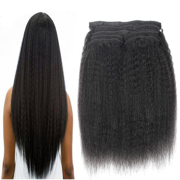 "Factory Wholesale Kinky Straight Clips In Brazilian Human Hair Extensions 8pcs/Set Coarse Yaki Clips Ins Hair Extensions Remy 18"" 20"" 22"" 24"