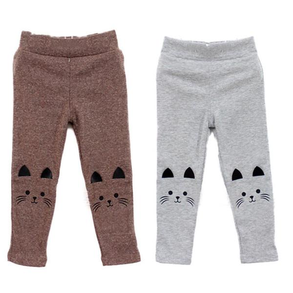 Trendy 2-7Y Baby Girl Cute Cat Print Pants Kid Warm Stretch Leggings Trousers L07