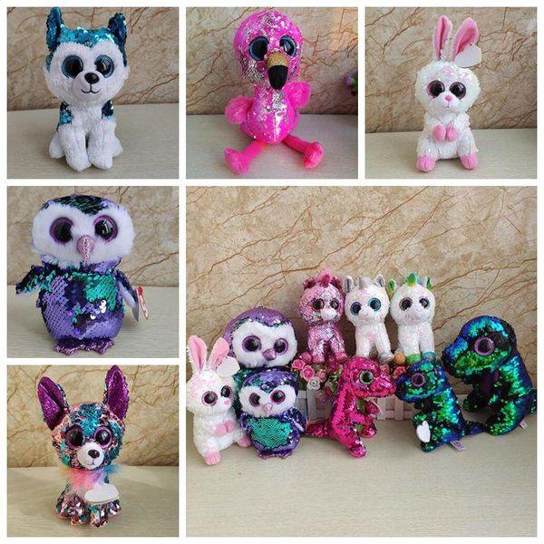 Sequin Ty Beanie Boos Stuffed Dolls Big Eyes Unicorn Plush Toy Owl Plush Animals Kids Stuffed Flamingo Dolls Christmas Gifts CCA11274 30pcs