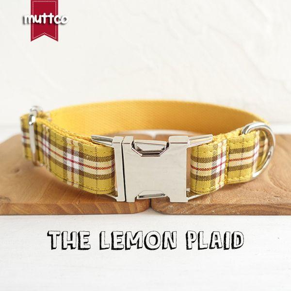 MUTTCO retailing personalized dog collar pet strap leash handmade dog accessory THE LEMON PLAID 5 sizes adjustable dog collar UDC057