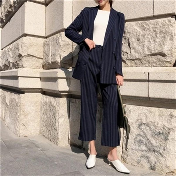 Fashion Pant Suits Female New British style High quality loose striped suit jacket + nine points casual wide leg pants two sets