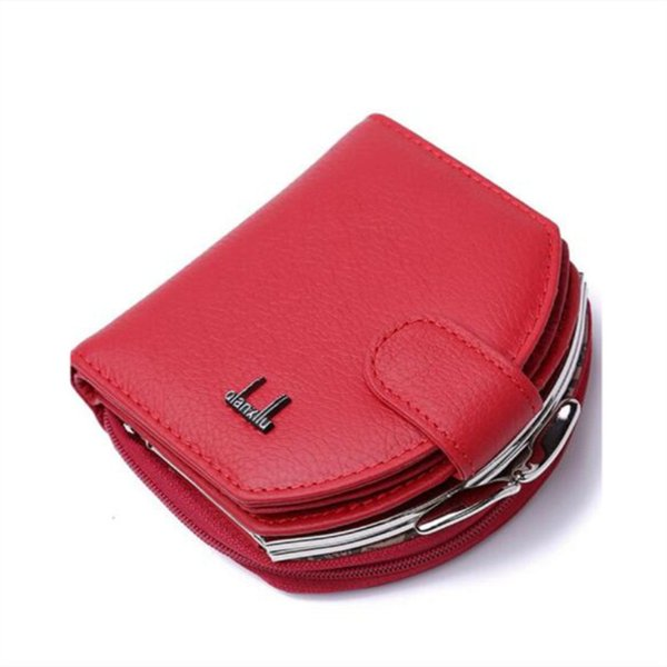 Genuine Leather Slim Wallet Women Mini Wallet Case Credit Card Holder Long Purse Coin Pocket Female Money Hand Bag Zipper Poucht Y190701