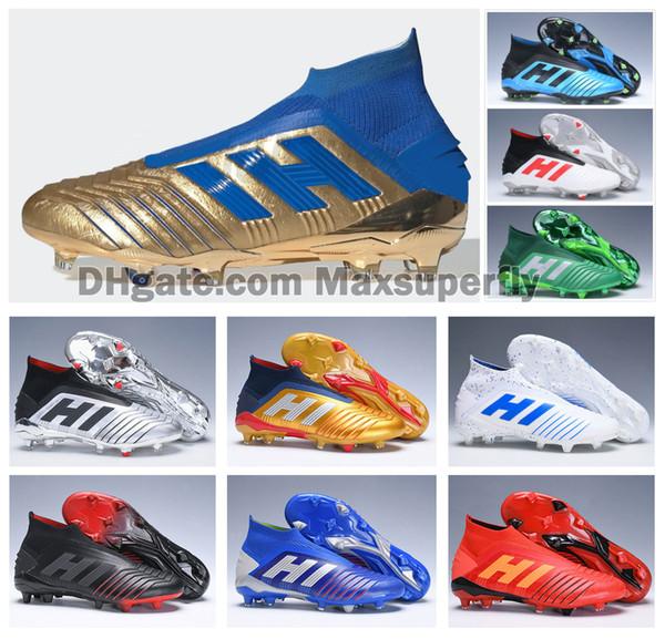 Sıcak 2019 Predator 19 + FG PP Paul Pogba Mens Womens Erkek Çocuklar Slip-On Futbol Futbol Ayakkabıları 19 + x Cleats Çizmeler Yüksek Ayak Bileği Ucuz Boyutu 35-45