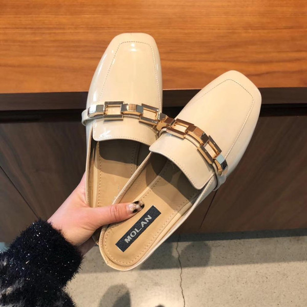 2019 Molan Designer Spring Luxcry Metal Chain Square Toe Flat Leather Slides Slip On Loafers Mules Flip Flops Noble