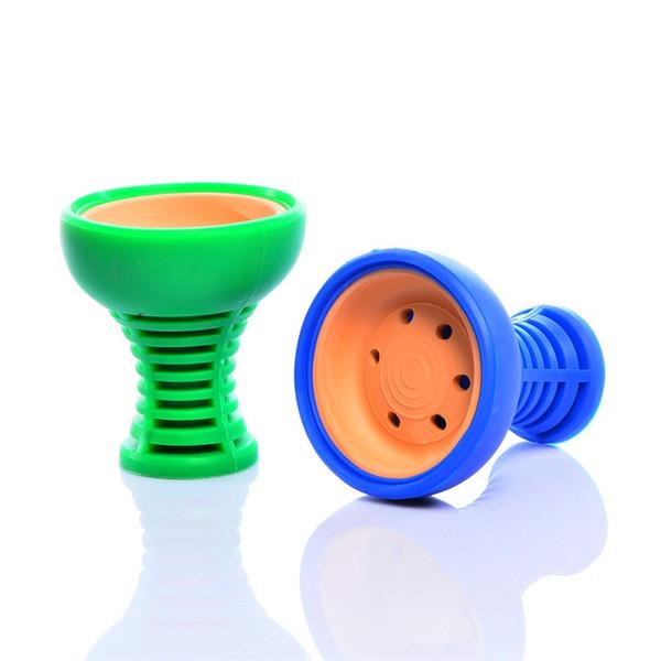 Nouveaux styles silicone Céramique Shisha Narguilé bol 6 couleurs fumée Contenants 6 trous Outils de fumer pour les tuyaux d'eau 10ry E1