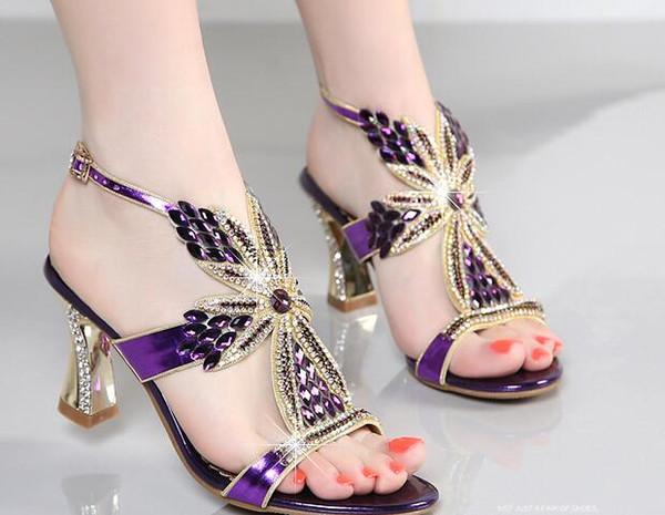 Summer fashionable leather high-end quality rhinestone purple gem high heel sandals low heel open-toe sandals heels Single shoes