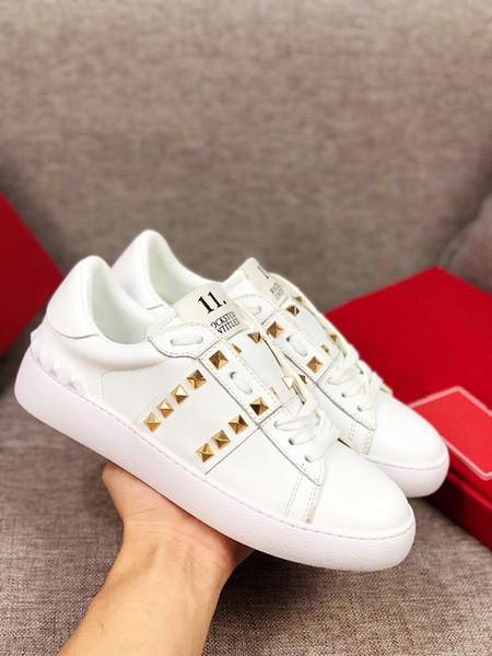 Piel de oveja 2019 el nuevo envío libre de la nueva marca casual para hombre zapatillas de cuero azul genuino Arena con cordones de lujo Kanye West formadores de alta