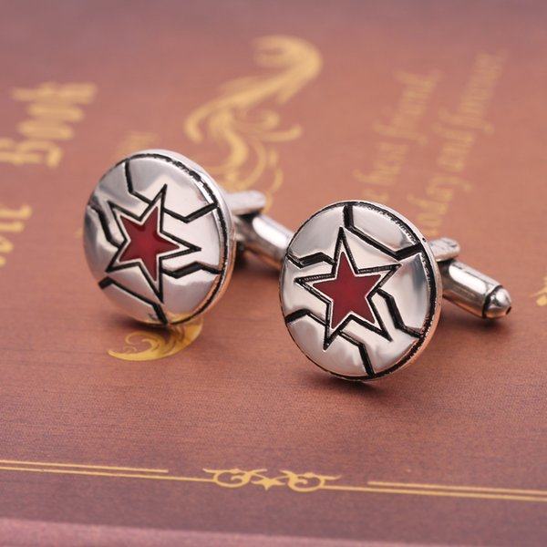 Marvel Logo Stella a cinque punte Capitan America Gemelli Men Boy Shirt Sleeve Button Gemelli Accessori