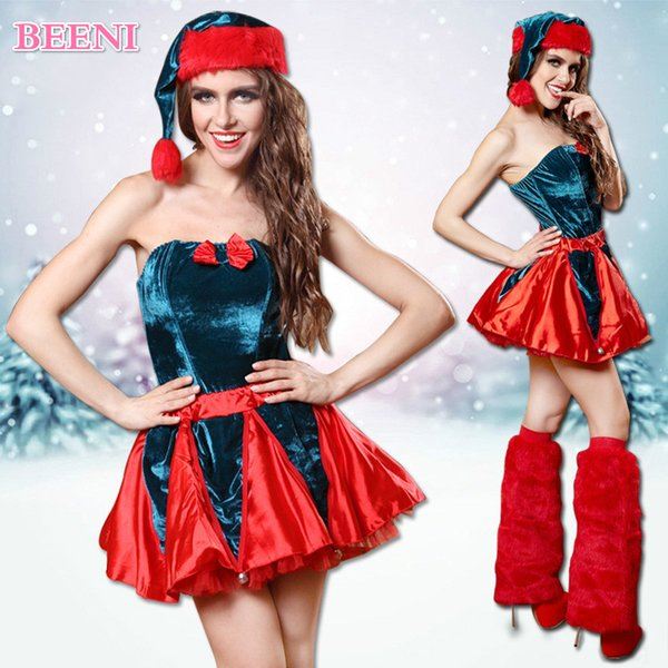 Sexy Christmas Costumes Cosplay Red and Green Christmas Hat Dress Set Adult Princess Stage Set Sexy Club Party Dance Wear Dress