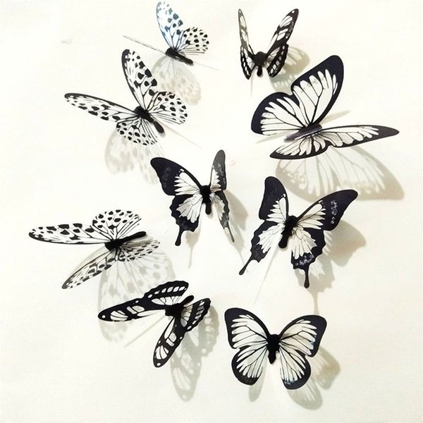Black and White 3D Butterfly Wall Stickers Art Wall Decals for Home Living Room Decoration Hot LXY9 DE17
