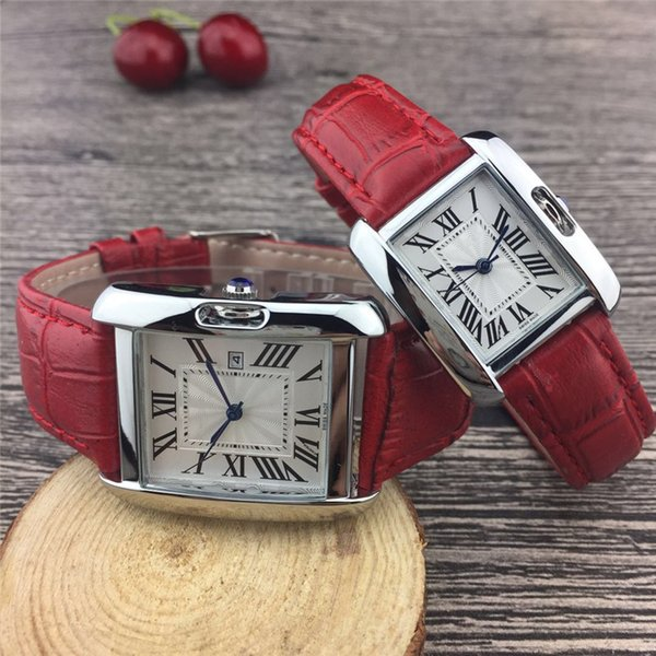 Heißer Verkauf Mode Lässig Kleid Männer Frauen Geschenk Uhr Lederband Paar Luxusuhren Quarz Bewegung Designer Tank Armbanduhren